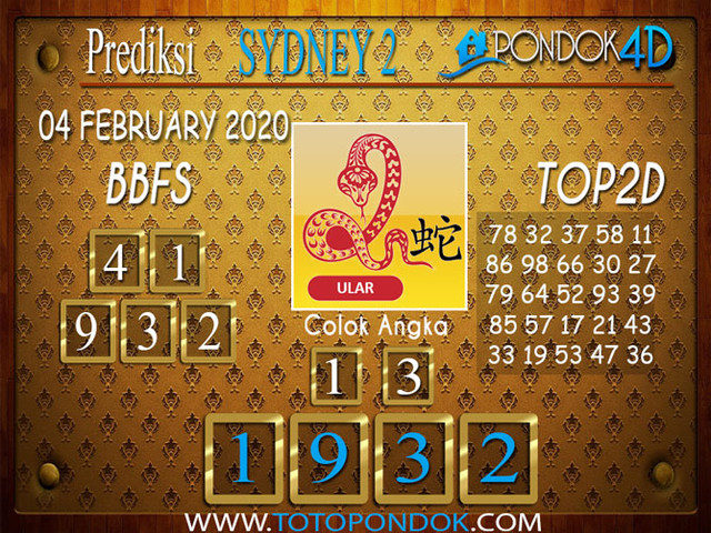 Prediksi Togel SYDNEY 2 PONDOK4D 04 FEBRUARY 2020