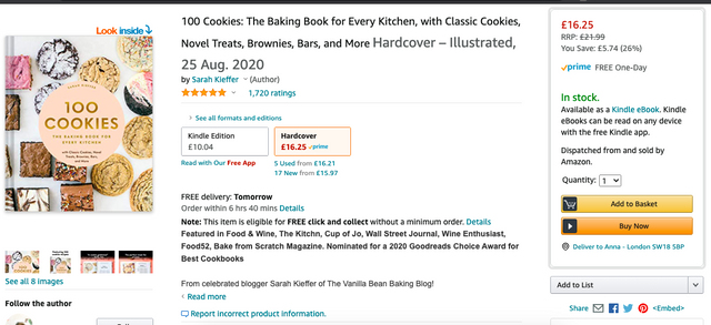 Amazon product page - 100 Cookies