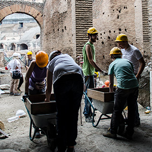 students of BA Archaeology & Classics excavating at the Colosseum in Rome