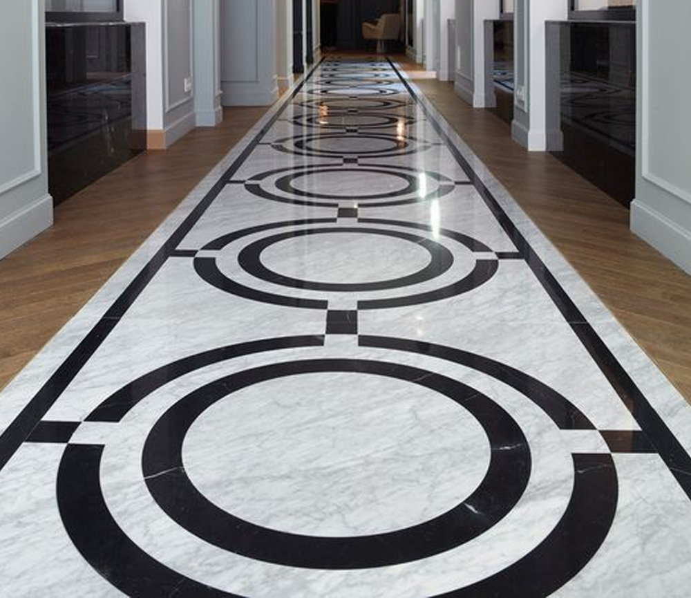 desain lantai granit Curved Granite Design