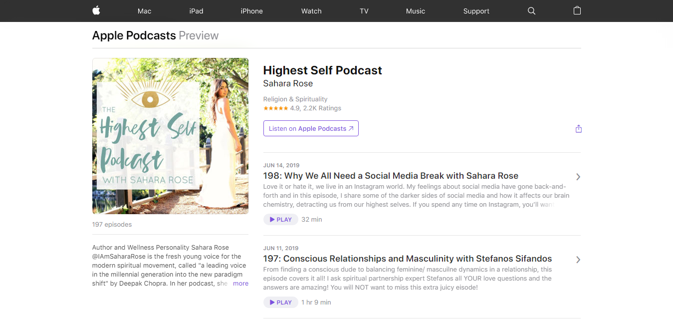 The Highest Self Podcast travel product recommended by Sahara Rose on Pretty Progressive.