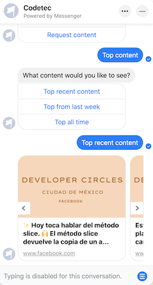 Group API response received in Messenger