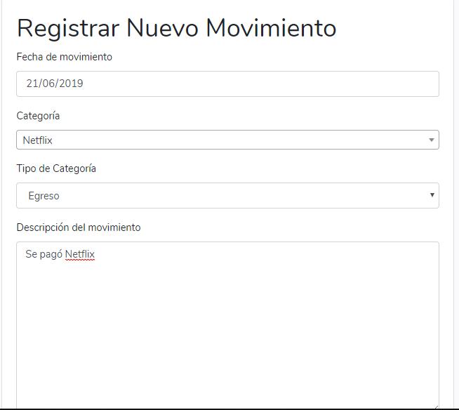 Formulario de registro de movimientos