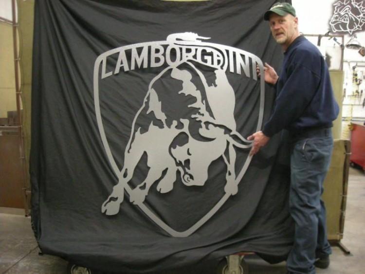 Lamborghini Bull emblem metal garage art signart