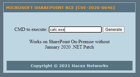 [Image: MICROSOFT-SHAREPOINT-RCE-CVE-2020-0646-GENERATOR.jpg]