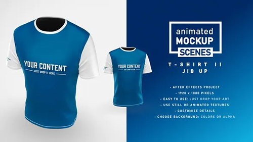 T-shirt II Jib Up Mockup Template - Animated Mockup SCENES 33226656 - Project for After Effects (Videohive)