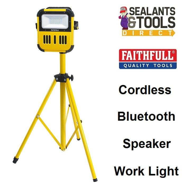 Faithfull-XMS19-SLBLUE-Power-Plus-Bluetooth-Speaker-Cordless-Tripod-Work-Light