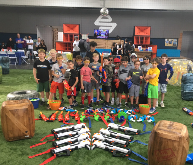 Indoor Nerf Arena made with our Nerf Party Supplies and Bubble Balls for a Nerf birthday party in a private facility in Los Angeles