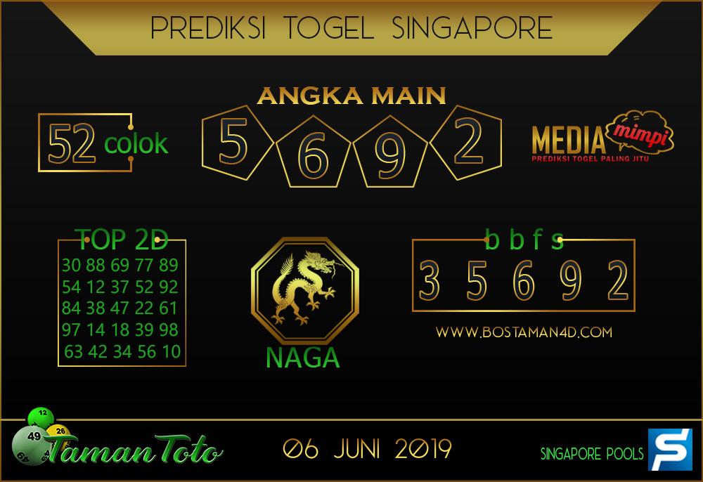 Prediksi Togel SINGAPORE TAMAN TOTO 06 JUNI 2019