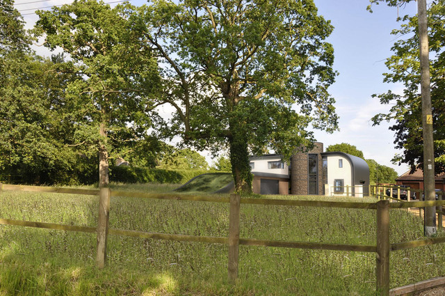 Tony-and-Ness-Self-build-in-East-Harling-Nofolk-Contempory-using-flint-Triple-glazing-Zinc-clad-Gree