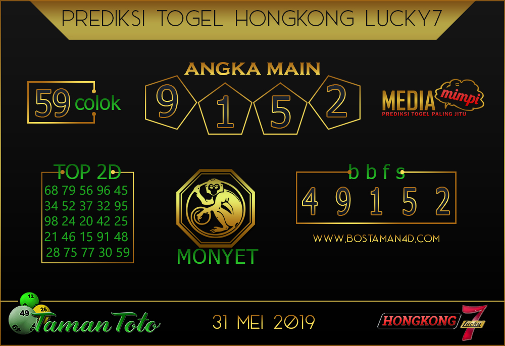 Prediksi Togel HONGKONG LUCKY 7 TAMAN TOTO 31 MEI 2019
