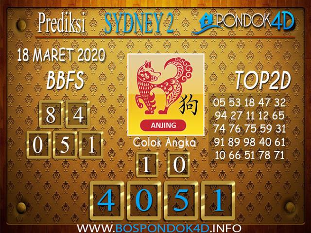 Prediksi Togel SYDNEY 2 PONDOK4D 18 MARET 2020