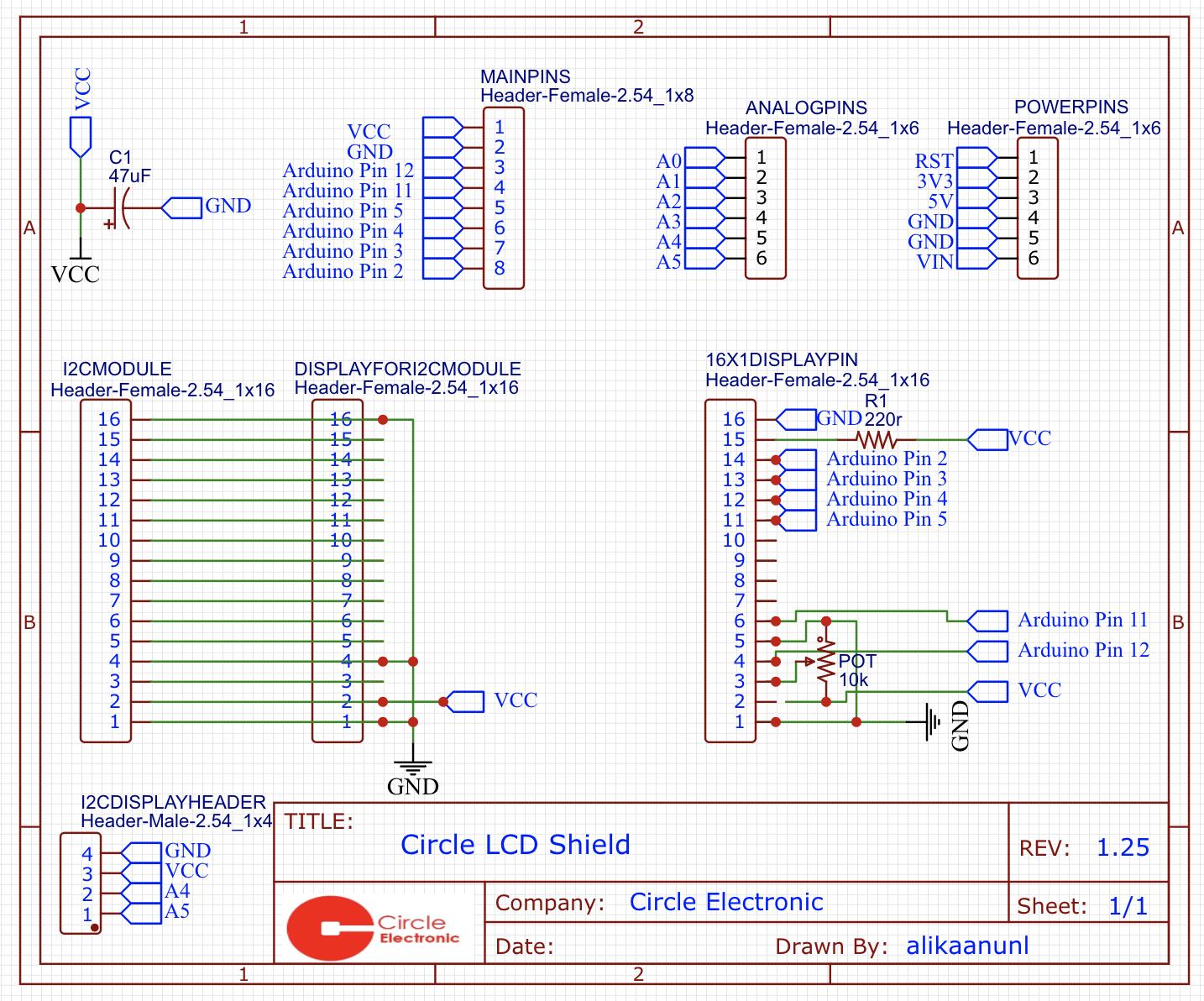 LCD Shield Schematic