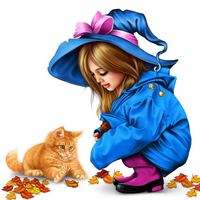 little girl in raincoat with a kitty png 22f475b73fa0c516dc.png