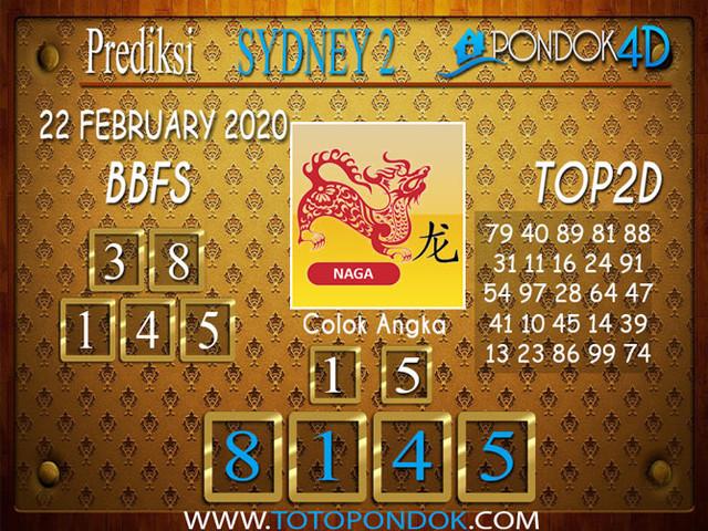 Prediksi Togel SYDNEY 2 PONDOK4D 22 FEBRUARY 2020