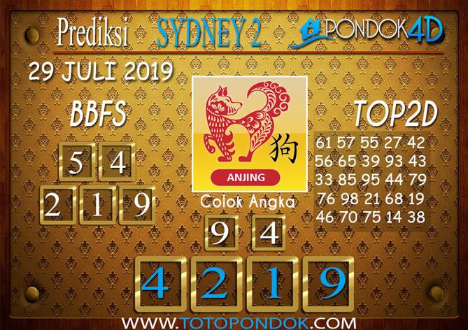 Prediksi Togel SYDNEY 2 PONDOK4D 29 JULI 2019