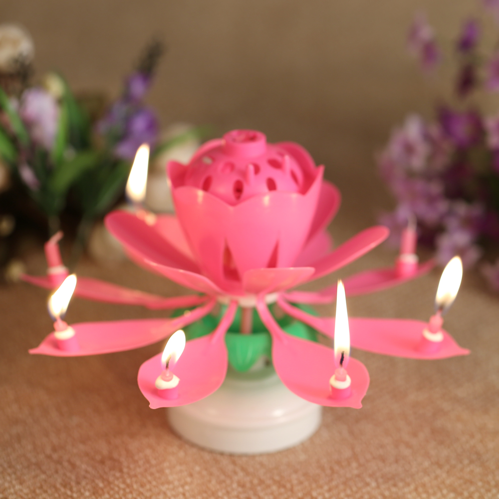 Home Decor Music Lotus Flower Birthday Candle Musical