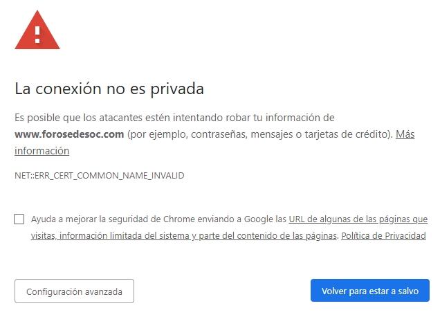 [CERTIFICADO INVÁLIDO] Los navegadores estiman que el certificado HTTPS es inválido y generan un error grave Certificado-inv-lido