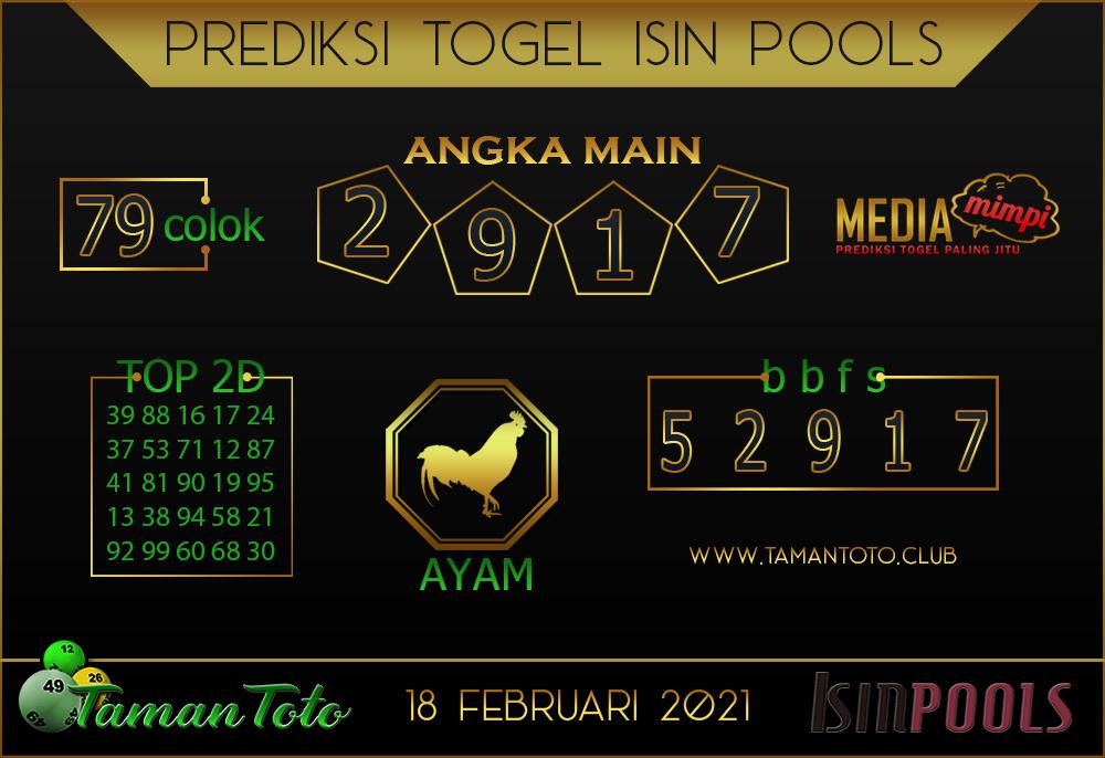 Prediksi Togel ISIN TAMAN TOTO 18 FEBRUARI 2021