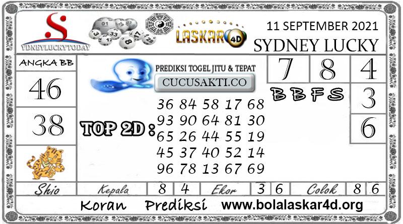 Prediksi Togel Sydney Lucky Today LASKAR4D 11 SEPTEMBER 2021