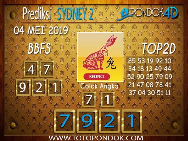 Prediksi Togel SYDNEY 2 PONDOK4D 04 MEI 2019