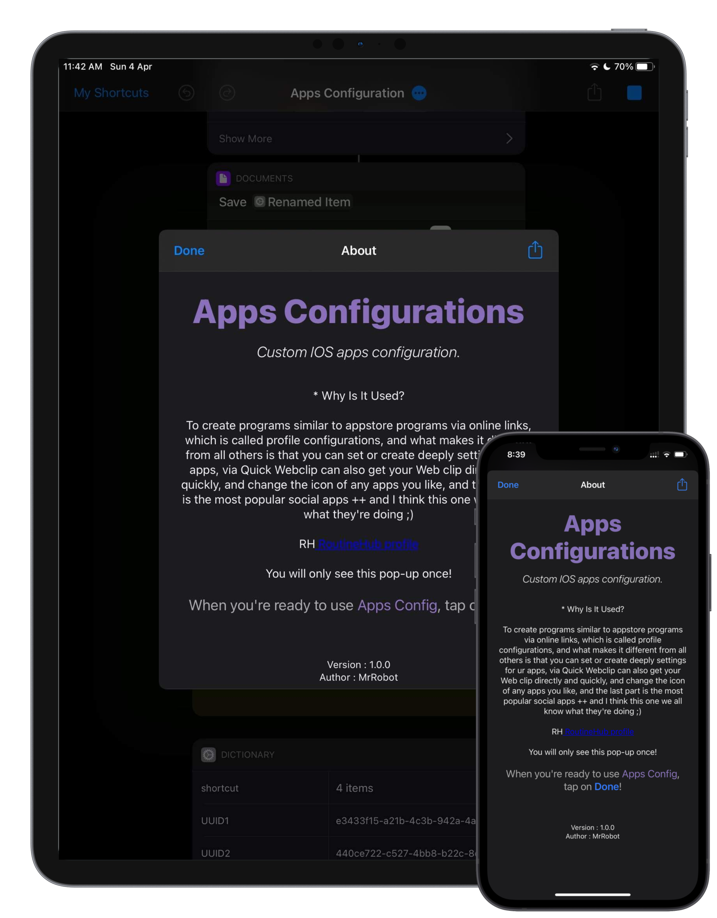 Apps Configuration screenshot from iOS