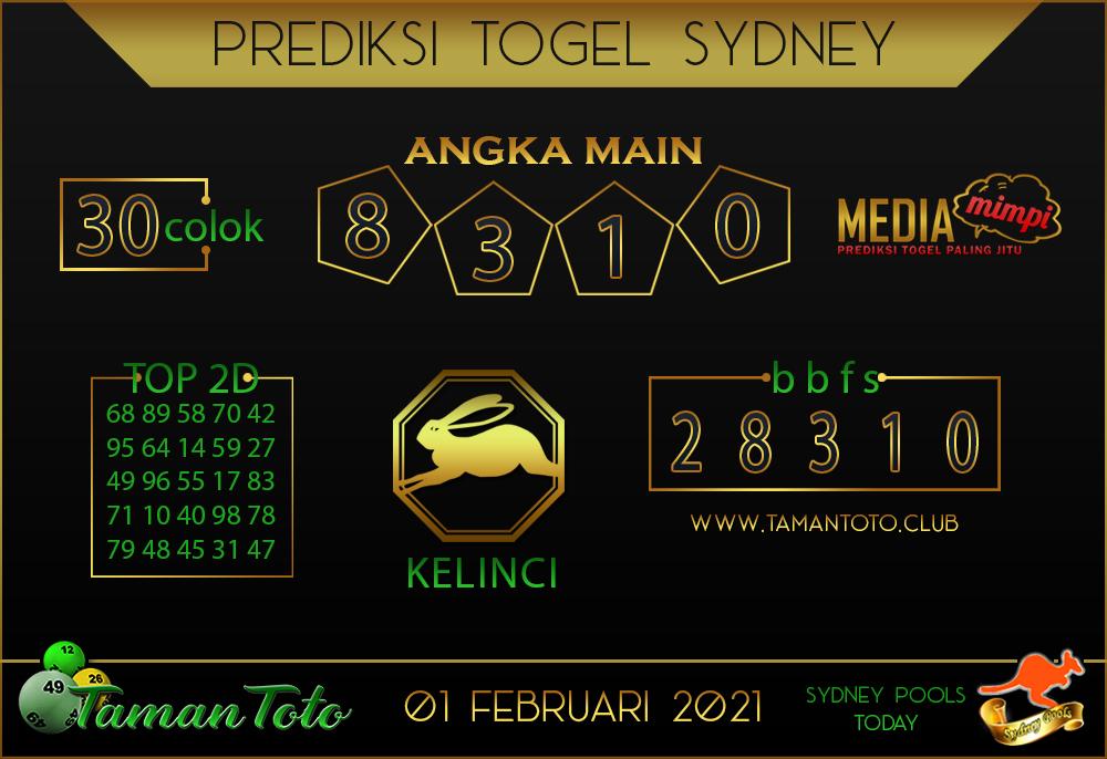 Prediksi Togel SYDNEY TAMAN TOTO 01 FEBRUARI 2021