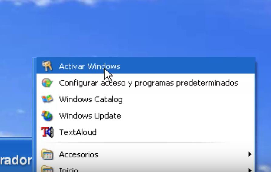 Asistente de activación de Windows XP.