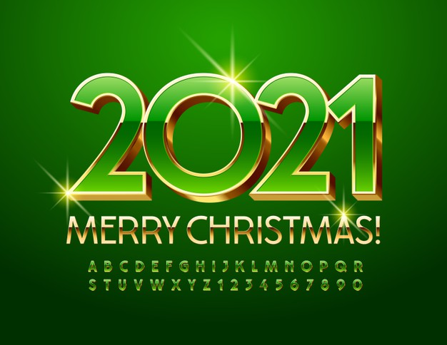 vector-chic-greeting-card-happy-new-year-2021-shiny-green-gold-font-premium-elegant-3d-alphabet-lett
