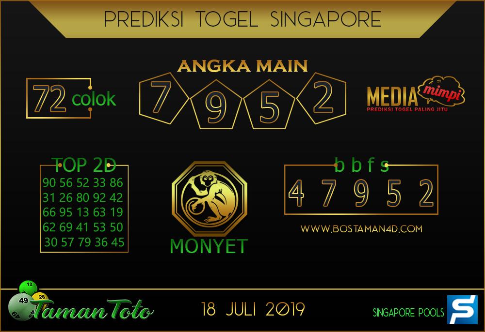 Prediksi Togel SINGAPORE TAMAN TOTO 18 JULI 2019