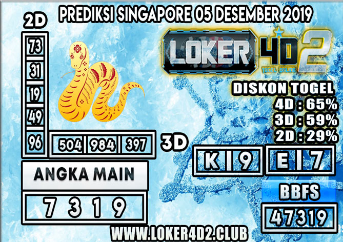 PREDIKSI TOGEL SINGAPORE LOKER4D 2 05 DESEMBER 2019