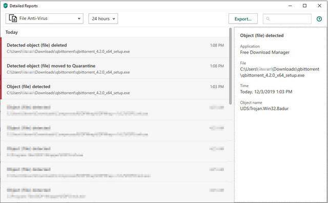 Kasperksy report for qBittorrent 4.2.0.
