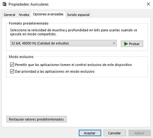 Liado con la configuración de sonido de Windows 10 y Spotify al conectar el DAC. Propiedades-Aud2