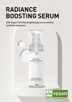 EVE Vegan Certified brightening serum without synthetic polymers.