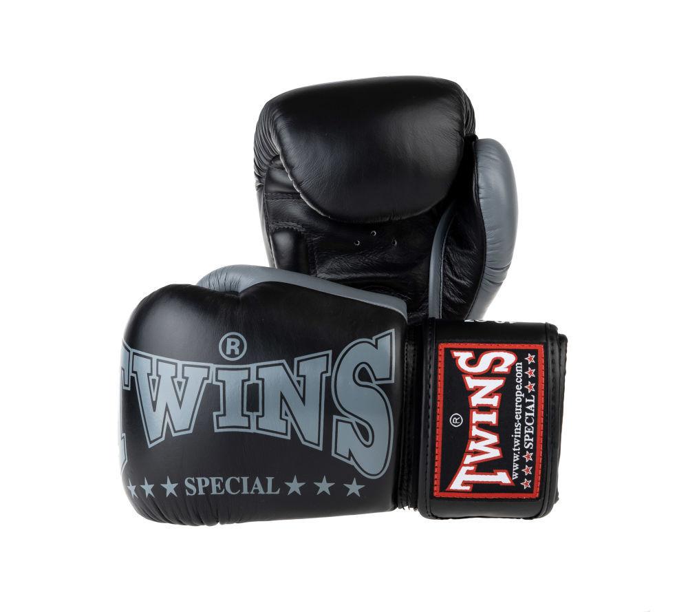 Боксерские перчатки Twins черные Оригинал Тай