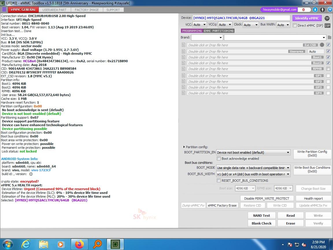 vivo v9 emmc 90% done by remove emmc ufi emmc tool
