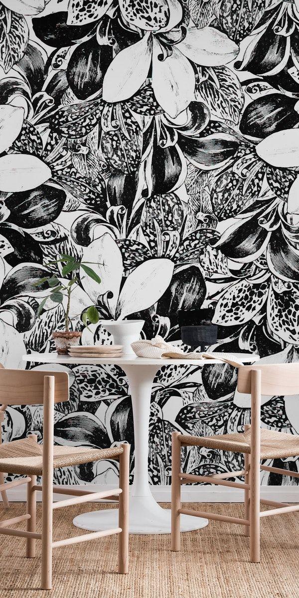 Wallpaper Dinding Hitam Putih Motif Bunga