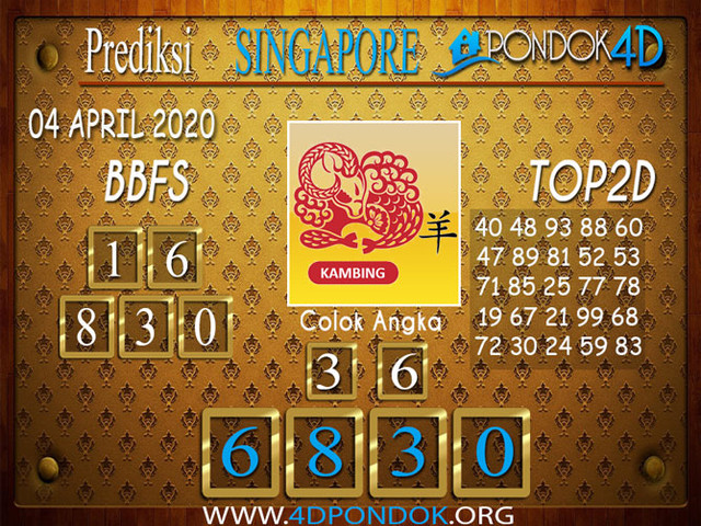 Prediksi Togel SINGAPORE PONDOK4D 04 APRIL 2020