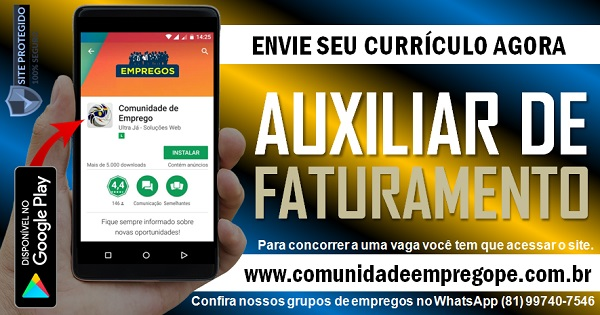 AUXILIAR DE FATURAMENTO, 02 VAGAS PARA EMPRESA DE TERCEIRIZAÇÃO NO RECIFE