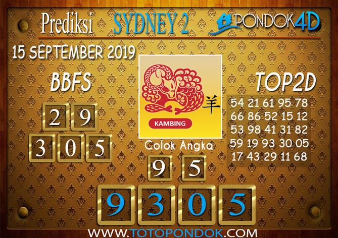 Prediksi Togel SYDNEY 2 PONDOK4D 15 SEPTEMBER 2019