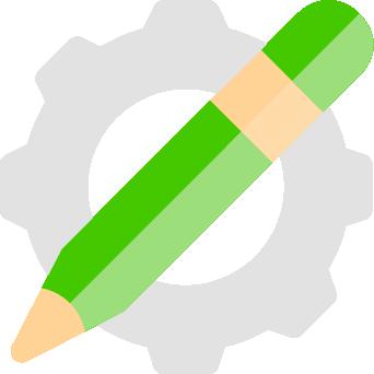 gear behind pencil icon