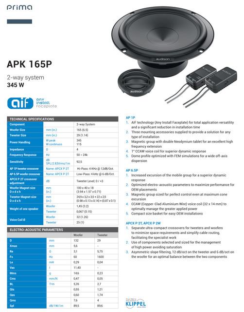 AUDISON-PRIMA-APK165-P-Tech-Sheet-1