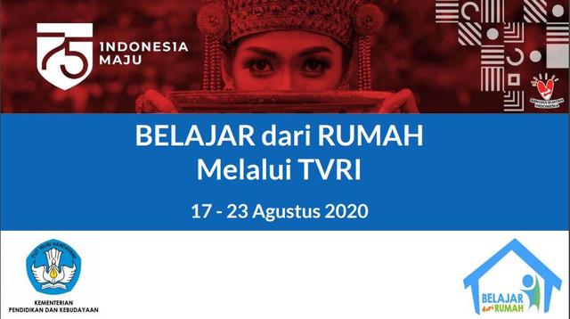 Jadwal belajar dari rumah TVRI 17-23 Agustus 2020.