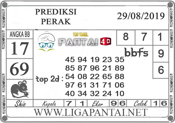 """PREDIKSI TOGEL """"PERAK"""" PANTAI4D 29AGUSTUS 2019"""