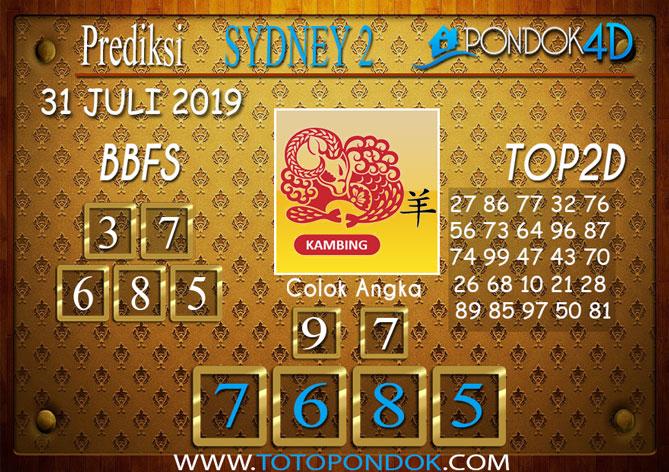 Prediksi Togel SYDNEY 2 PONDOK4D 31 JULI 2019