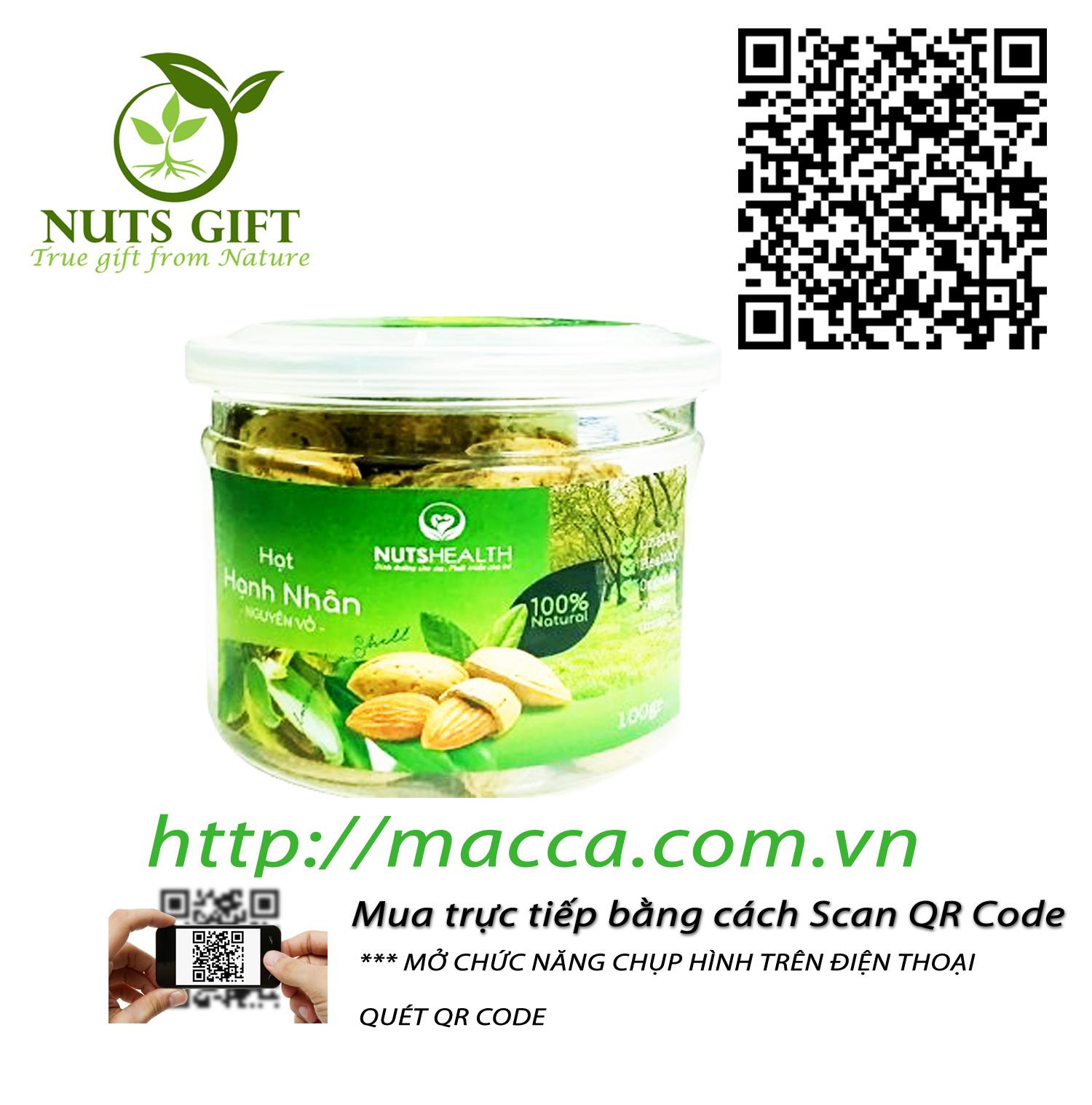 Hạt Hạnh Nhân Nguyên Vỏ – Nutshealth – 100Gr