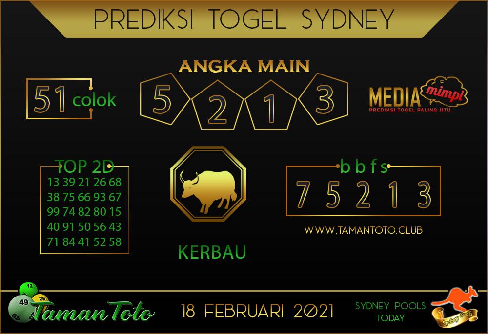 Prediksi Togel SYDNEY TAMAN TOTO 18 FEBRUARI 2021