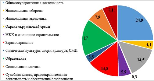 Структура расходов консолидированного бюджета по функциональной классификации в 2018 г., в % к итогу