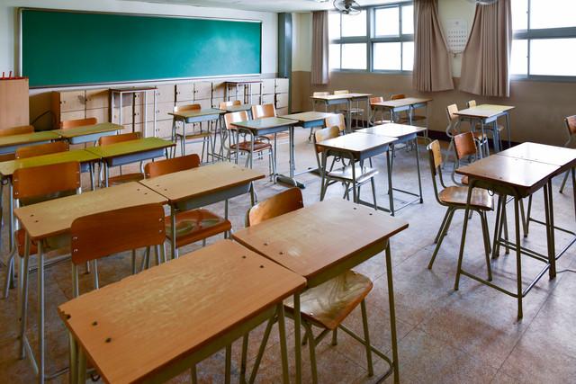 School-classroom-with-school-desks-and-blackboard-in-South-Korea-high-school