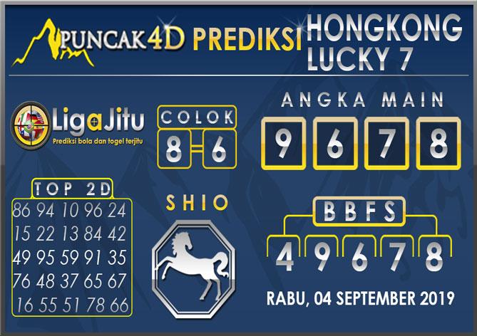 PREDIKSI TOGEL HONGKONG LUCKY7 PUNCAK4D 04 SEPTEMBER 2019